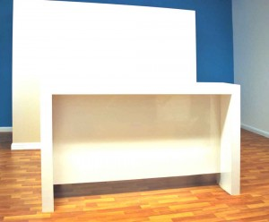front desk for reception, white