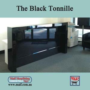 Reception counter front desk, gloss black