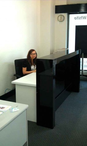 Receptionist counter for front office, black gloss shiny finish