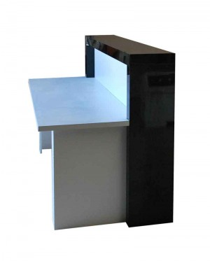 Receptionists desk, for front of office, black gloss