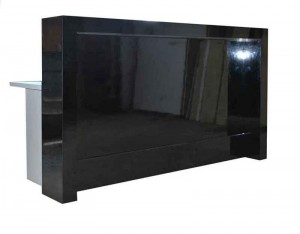 Receptionists front desk with a black gloss front