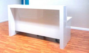 White gloss reception desk, white gloss reception counter