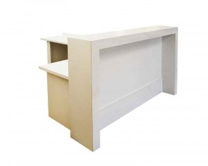 Receptionist counter with long return. White gloss front