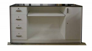 Black and white reception counter with lockable drawers, pull out bench and castors