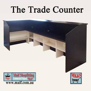 Black retail trade counter