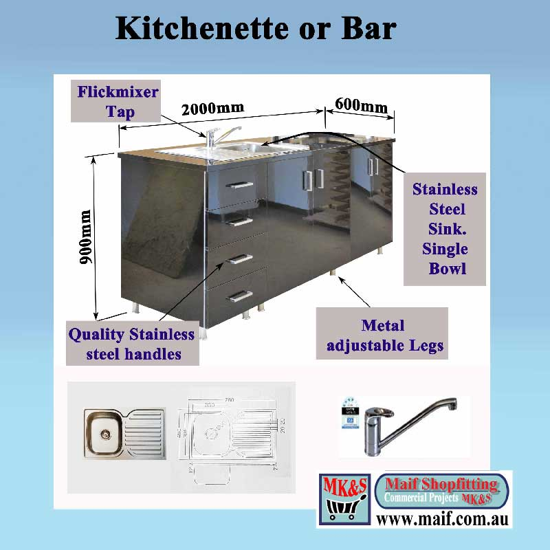 kitchenette black gloss suitable for bar or office