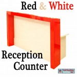 Reception desk, red and white gloss