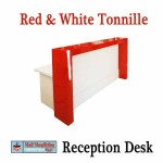 Gloss red and white reception counter
