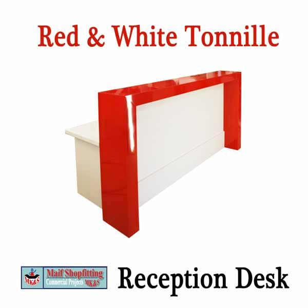 Red-&-White reception desk, Glossy reception desk.