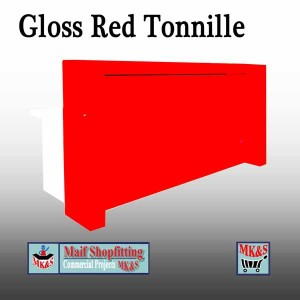 Red gloss reception desk for sale