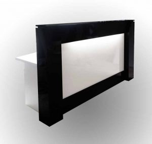 Gloss black and white desk for front office.
