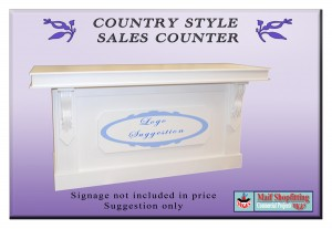 Country style sales desk. White satin