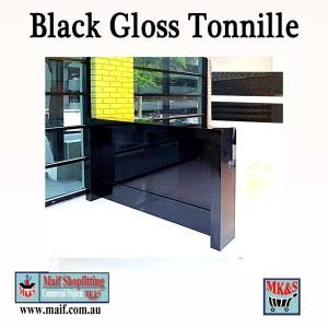 Black contrasting reception desk