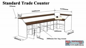 Dimensions for trade counter