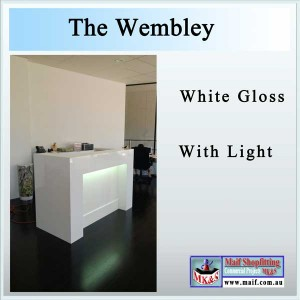 Office reception desk with light