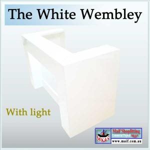 White gloss reception desk