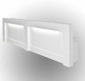white gloss long reception desk