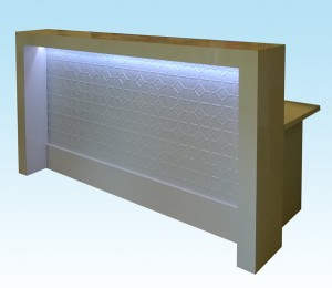 Pressed metal white gloss counter