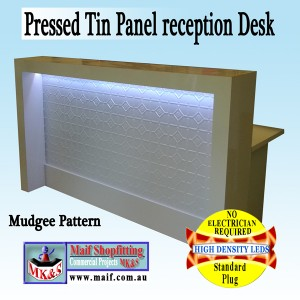 Reception with pressed tin metal
