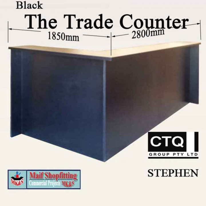 Black warehouse sales counter