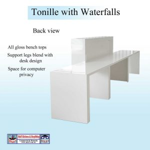 Desk with waterfalls