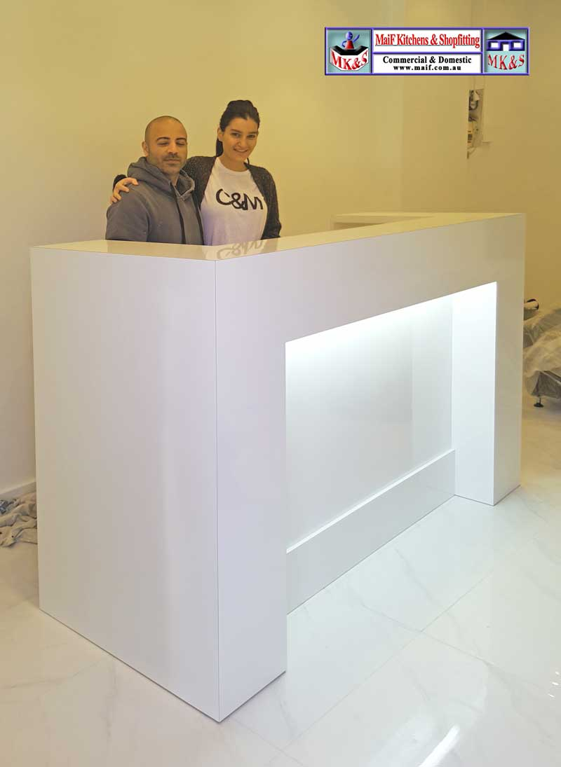 White Reception Desk For Salon Reception Counters