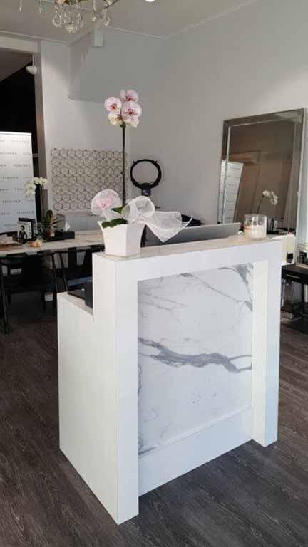 Small marble salon counter