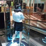 Customised large round glass display unit