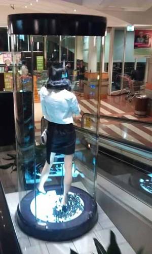 Customised large round glass display unit