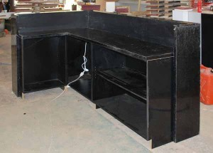 Black gloss counter with storage under