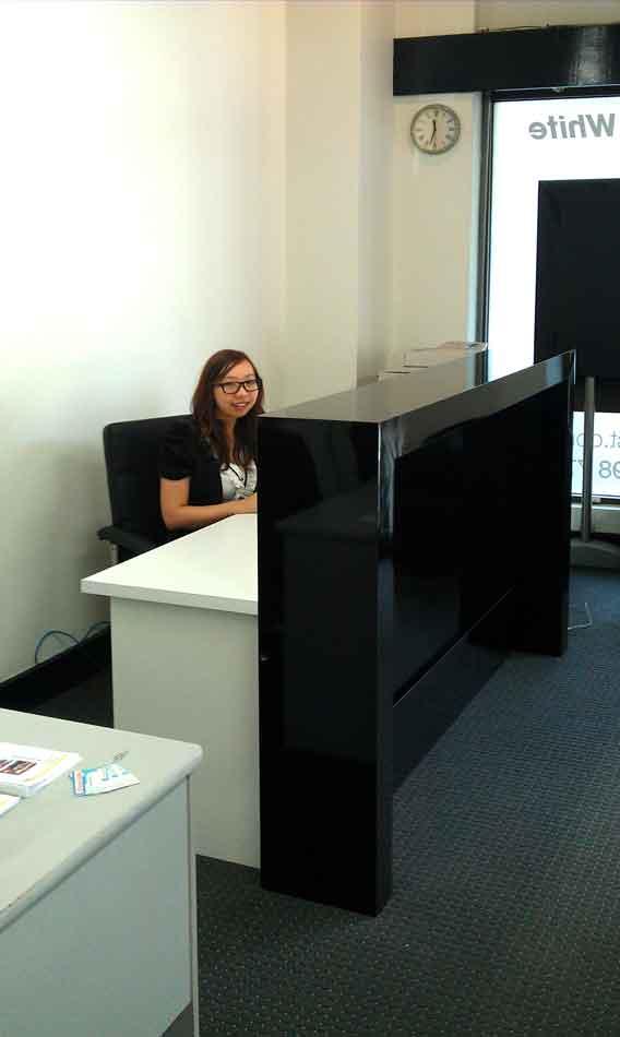 Black Office Counter Gloss Black Reception Desk