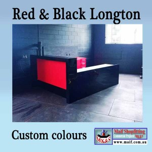 fitness center counter, blackand red gloss