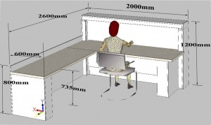 Front counter for office with work space for computer and printer, with sizes