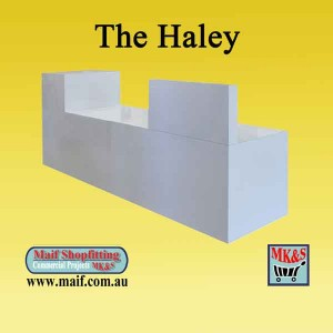 White reception counter, modern design, low and high profile reception counter
