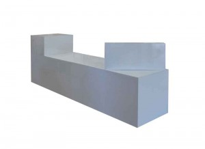 Sales counter white gloss with wide top