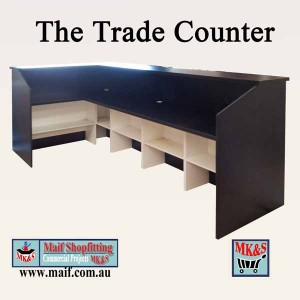 Black retail trade counter