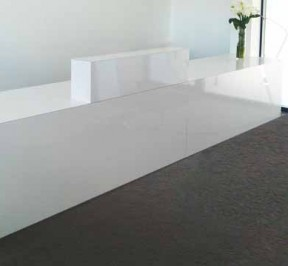 reception counter with clean lines
