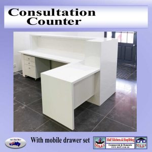 white gloss counter modern office