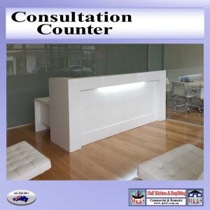Counter on a timber floor with light