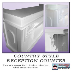 White country style reception counter