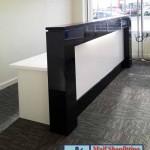 Black and white reception desk