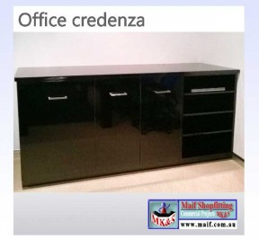 Office credenza black gloss