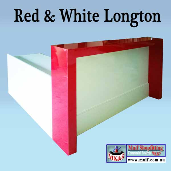 Red and white gloss reception desk with return