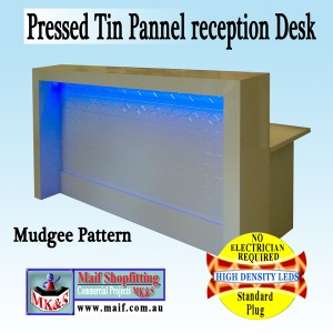 Tin panel reception desk