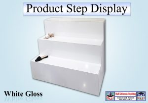 White Gloss Steps Display Unit